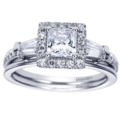Ladies' Princess 14k White Gold Diamond Engagement Mounting