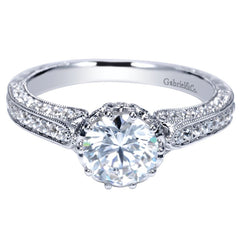 Ladies' Milgrain 14k White Gold Diamond Engagement Mounting