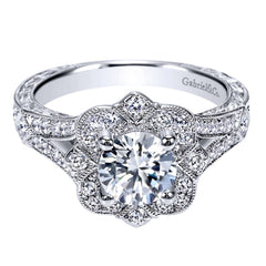 Ladies' Floral 14k White Gold Pave Diamond Engagement Mounting