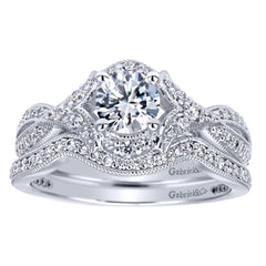 Ladies' Criss Crossed 14k White Gold Diamond Engagement Ring