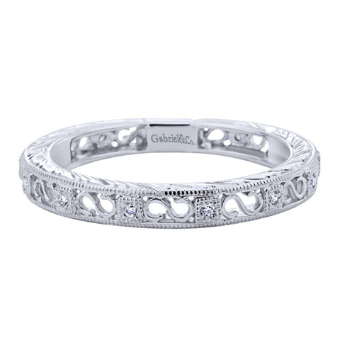 Ladies' Filigree 14k White Gold Diamond Band