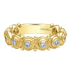 Ladies' Swirl 14k Yellow Gold Diamond Band