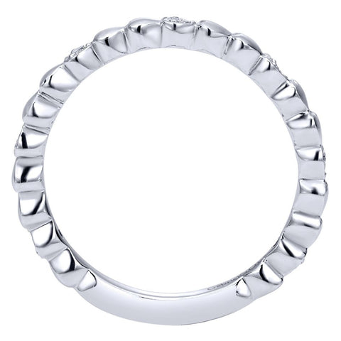 Ladies' Matt Scallops 14k White Gold Diamond Band