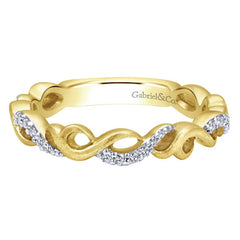 Ladies' Braided 14k Yellow Gold Diamond Pave Band