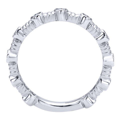 Ladies' Bezeled 14k White Gold Diamond Band
