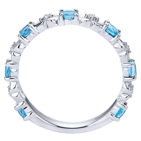 Ladies' Blue Topaz 14k White Gold Diamond Band