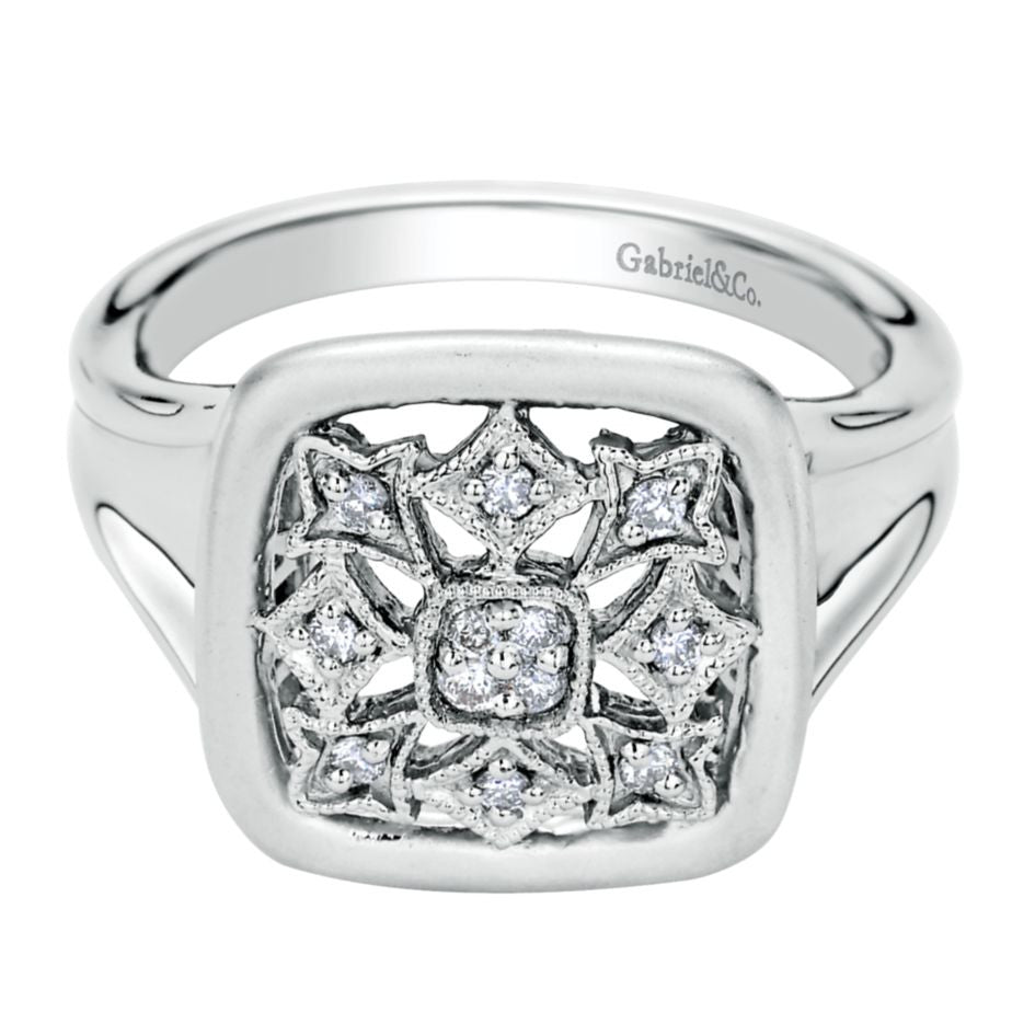 Ladies' Sterling Silver and Diamonds Fashion Ring by Gabriel Co