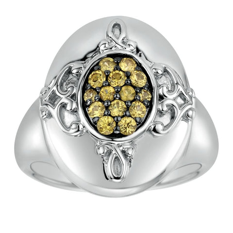 Ladies' Sterling Silver and Yellow Sapphire Fashion Ring