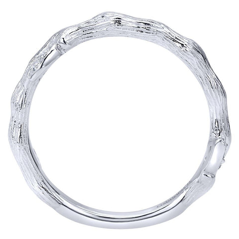 Ladies' Organic 14k White Gold Diamond Band