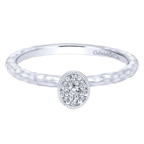 Gabriel and Co 14k White Gold Diamond Pod Ring