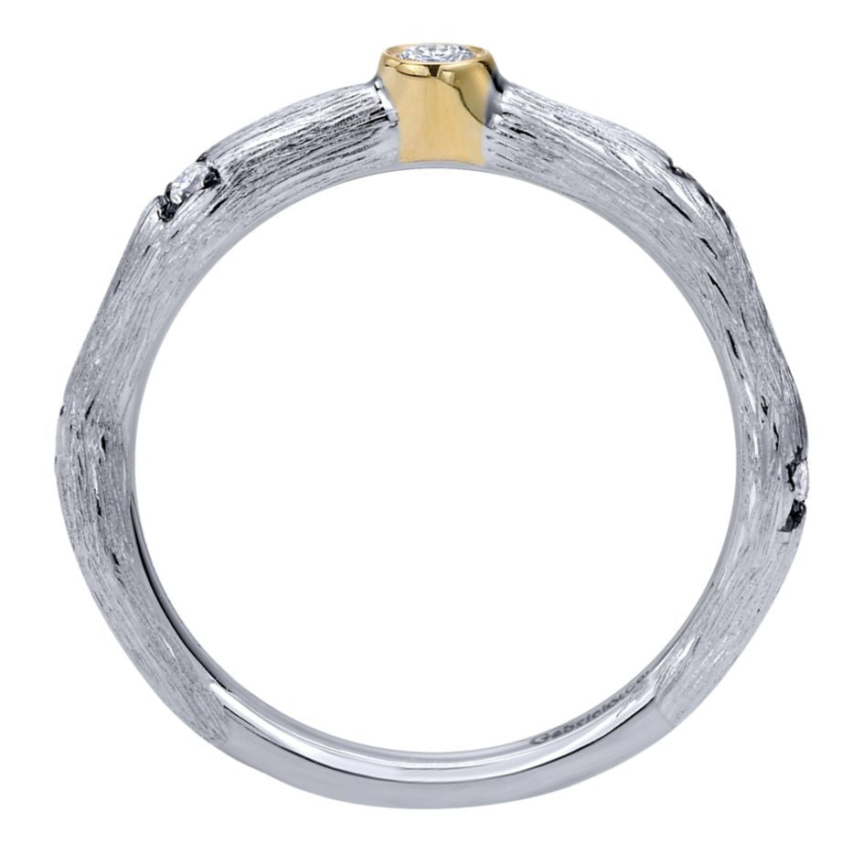 Gabriel and Co Two Tone Gold Diamond Band with Organic Florentine