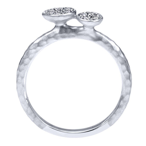 Gabriel and Co 14k White Gold Double Pod Ring with Hammered Finish