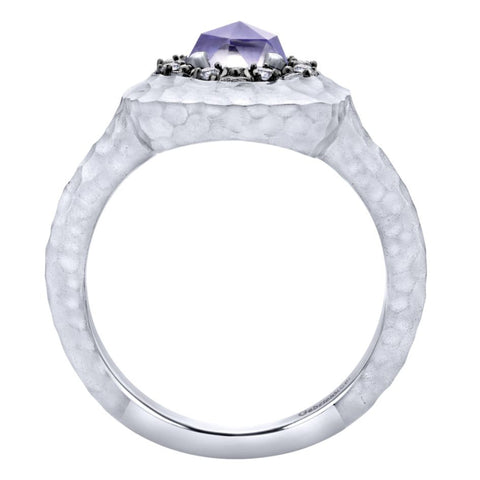 Ladies' Sterling Silver, Purple Jade and White Sapphire Fashion Ring