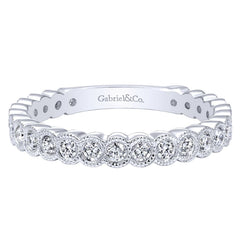 Ladies Milgrain 14k White Gold Diamond Band by Gabriel and Co
