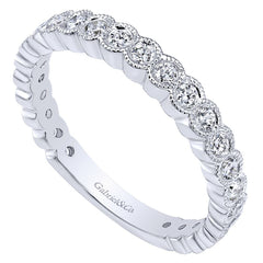 Ladies' Milgrain 14k White Gold Diamond Band