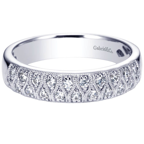 Ladies' Double Row 14k White Gold Diamond Band