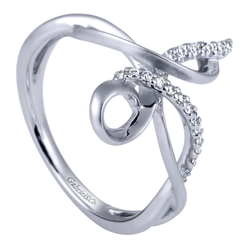 Ladies' Freeform Sterling Silver and Diamonds Fashion Ring