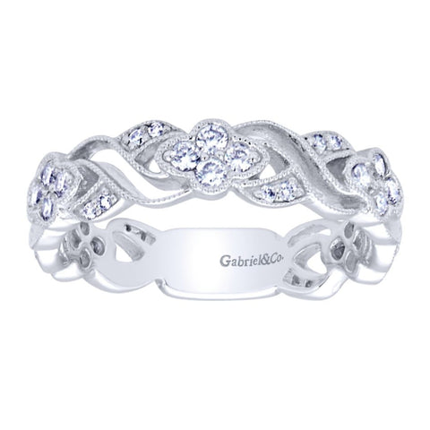 Ladies' Open Weave 14k White Gold Diamond Band