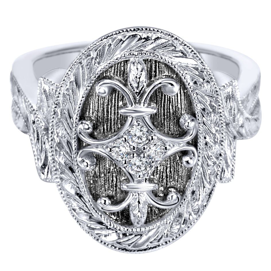 Ladies' Oval Sterling Silver and Diamonds Fashion Ring by Gabriel Co