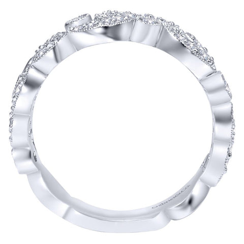 Ladies' Pave Filigree 14k White Gold Diamond Band