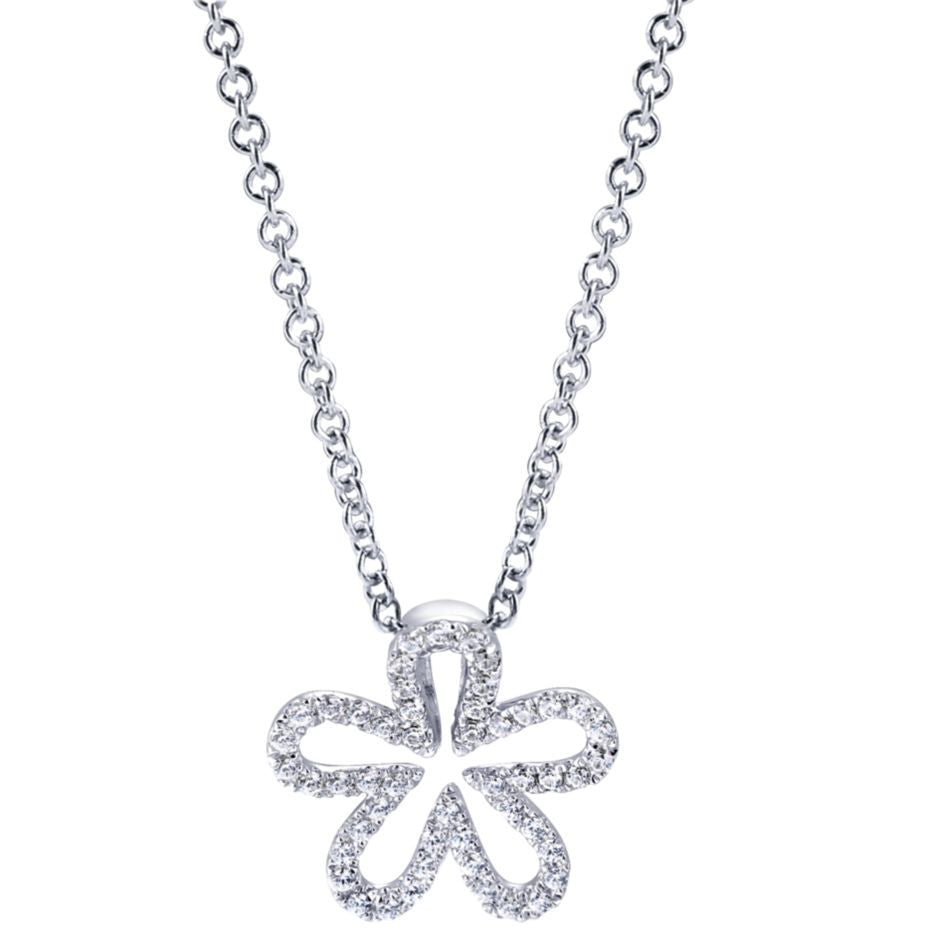 Ladies' Flower 14k White Gold Diamond Pendant