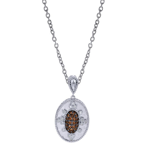 Sterling Silver, Diamonds and Smoky Topaz Pendant by Gabriel Co
