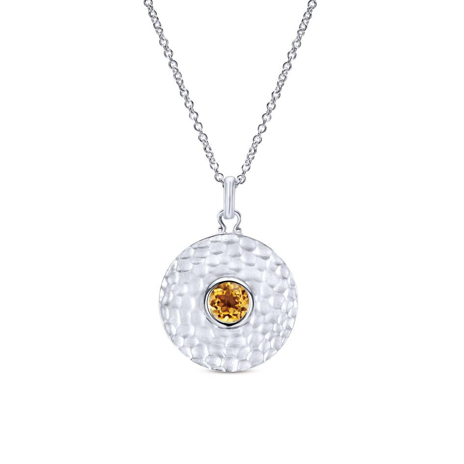Hammered Finish Sterling Silver and Citrine Round Pendant by Gabriel