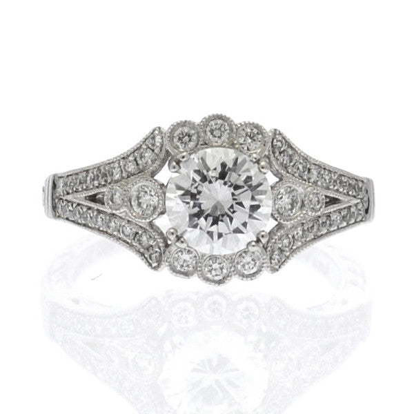 Amavida Platinum Engagement Mounting With Semi Halo