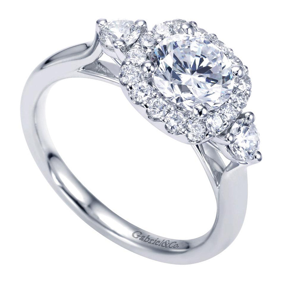Three Stone Diamond Engagement Mounting with Halo