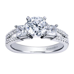 Three Stone Diamond Engagement Pave Set Mounting