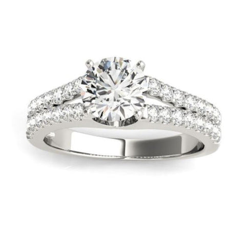 Classic Split Shank Diamond Engagement Ring in White Gold