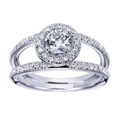 Split Shank Diamond Halo Engagement Ring
