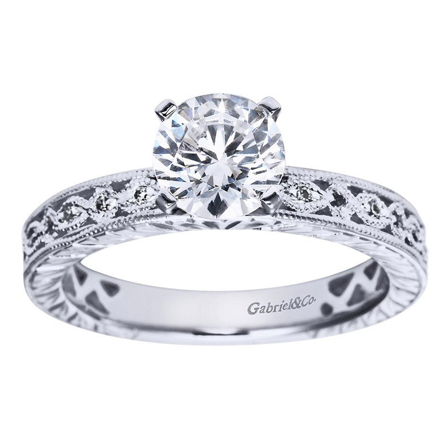 Fancy Tiffany Style Filigree Design Diamond Engagement Mounting
