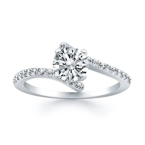 Bypass Fancy Solitaire Diamond Engagement Mounting in White Gold