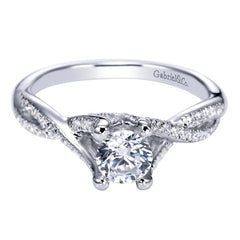 Twisted Shank Diamond Halo Engagement Ring