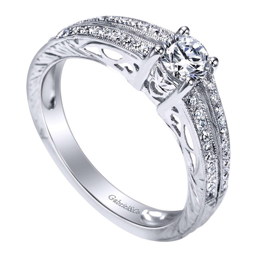 Round Brilliant Diamond Engagement Ring with Split Pave Shank