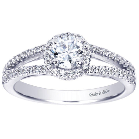 Classic Diamond Halo Engagement Ring with Split Shank