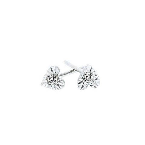 Heart Shaped Illusion Set Diamond Studs