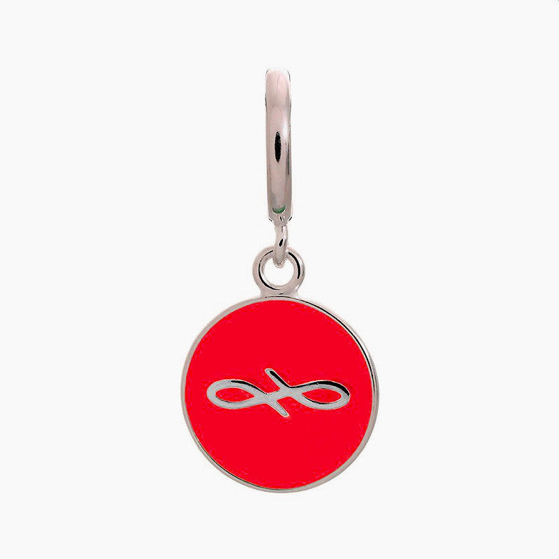 Endless Charm with Red Enamel Infinity Sign in Sterling Silver.
