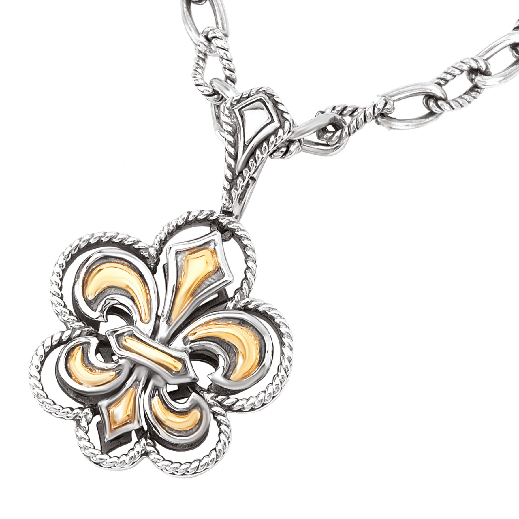 Sterling Silver and 18k Yellow Gold Fleur De Lis Pendant