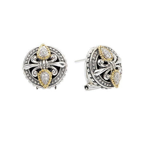 Sterling Silver, 18k Yellow Gold and Diamonds Fleur De Lis Earrings