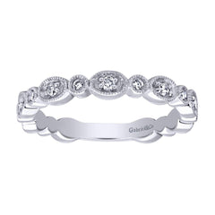 Milgrain Finish Scalloped White Gold Diamond Band