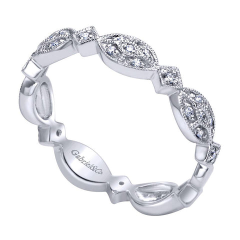 Vintage Inspired Pave Design White Gold Diamond Band