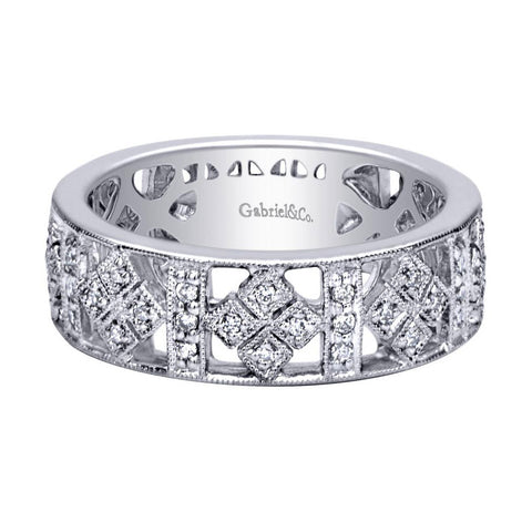 Art Deco Style White Gold Diamond Pave Band