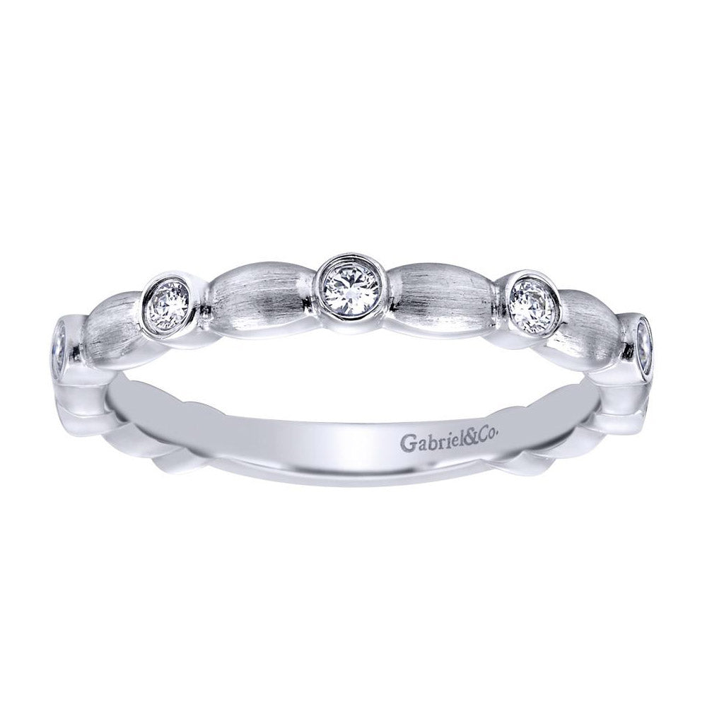 Bezels and Scallops Satin White Gold Diamond Band