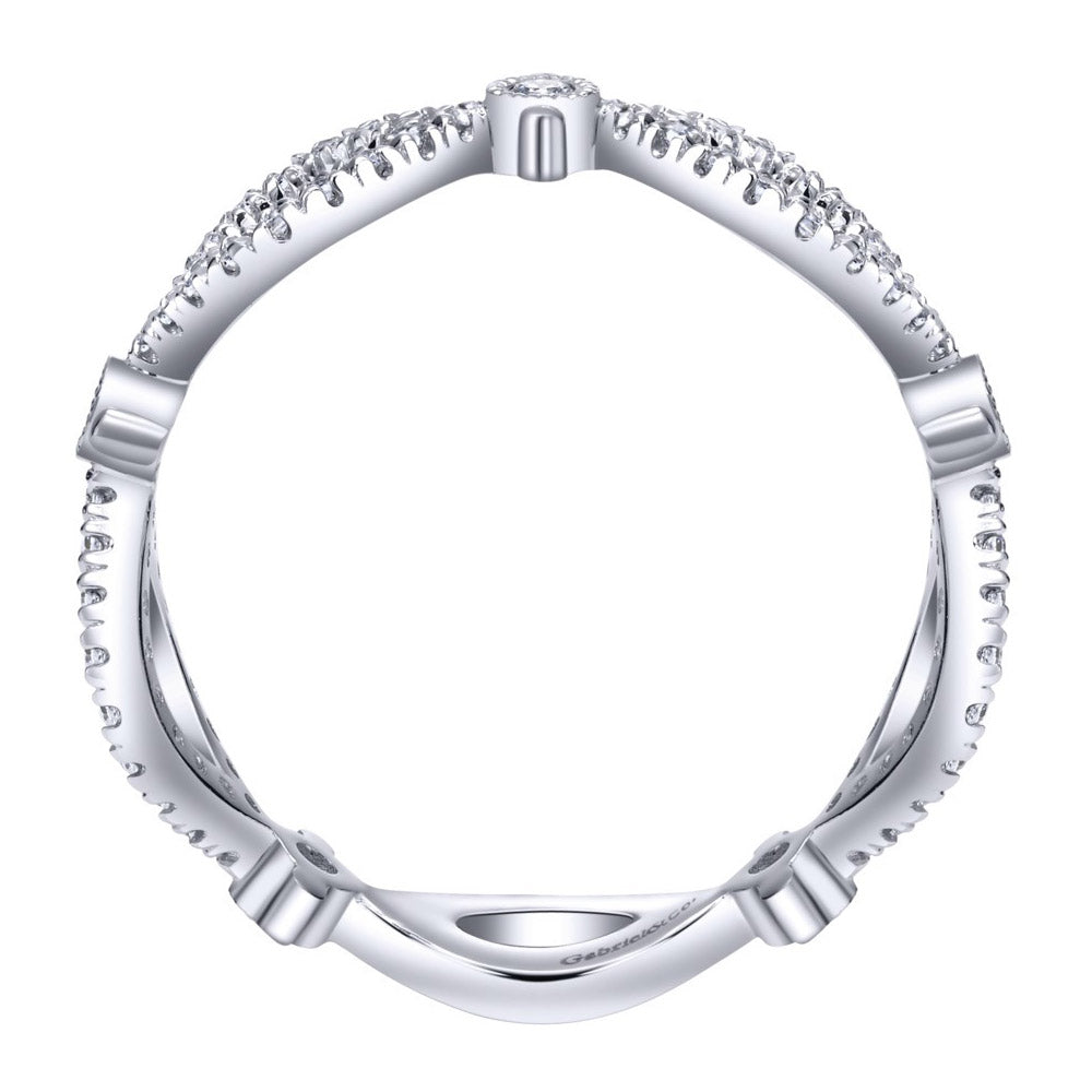 Open Space Pave Design White Gold Diamond Band