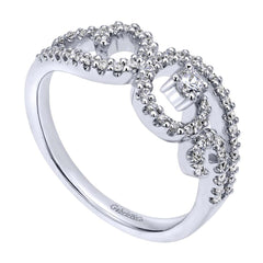 Open Space Swirl Design Diamond Pave Cocktail Ring