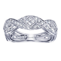 Scalloped Weave White Gold Diamond Pave Band