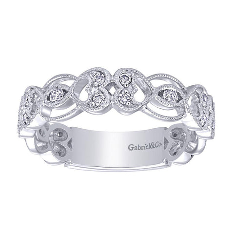 Twin Hearts White Gold Filigree Diamond Band