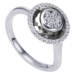 Satin Finish Round Diamond Pave Fashion Ring